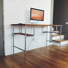 shelf floor l with brown wooden top computer desk with shelf and silver steel base on