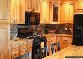 Slate Backsplash Kitchen Brown Countertop Oak Cabinet Slate Backsplash Tile Tile