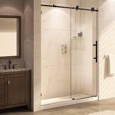 Frameless Shower Sliding Glass Doors Republic Trident Mocha 60 X 76 Single Sliding Frameless