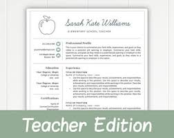 resume template for teachers resume etsy