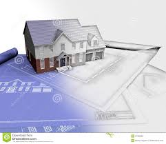 3d render of house on blueprints with half in sketch phase stock 3d render of house on blueprints with half in sketch phase stock illustration