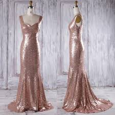 2016 rose gold bridesmaid dress with train luxury evening open