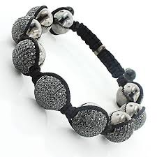 silver bracelet with black stones images Mens disco ball jewelry black stones bracelet jpg
