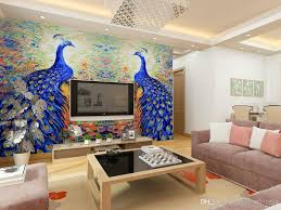 Living Room Tv by Promotional Wallpaper Mural Blue Peacock Oil Painting The Living