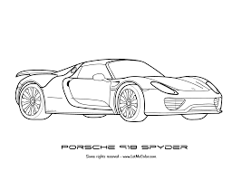 cars coloring page porsche 918 spyder png