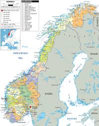 Arctic Circle Map Norway And Administrative Map Of Norway With All Roads