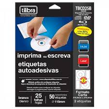etiqueta ink jet laser cd dvd 115mm cd25b 25 folhas 50 un