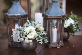 white floral arrangements reception décor photos wood lanterns small white floral