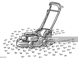 lawn mower gardening drawing vector art getty images