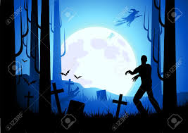 background images halloween halloween themed background with witches and zombies vector