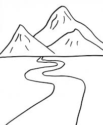 road coloring page landscape and the winding road coloring page