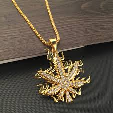 leaf chain necklace images New golden fire weed leaf 75cm boxing chain necklace cannalovers jpg