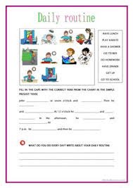 16 free esl present simple tense daily routine worksheets