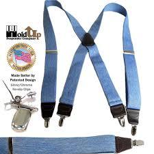 American Flag Suspenders Holdup Brand Light Blue Denim Color Suspenders With Usa Made 1 1 2