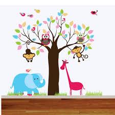 17 nursery jungle wall decals blue jungle animals and tree wall wall decals jungle nursery playroom wall decal by wallartdesign