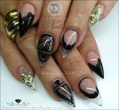 luminous nails black u0026 gold acrylic nails inspired by get buffed