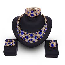 resin necklace wholesale images Blue dot waving line resin necklace earrings ring bracelet jewelry jpg