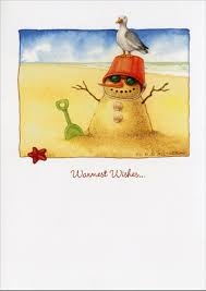 warmest wishes photo card sand snowman warm weather christmas card by recycled paper greetings