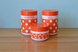 Italian Canisters Kitchen by Retro Italian Kitchen Canisters Per Alimenti Orange And White
