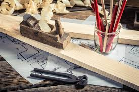 Carpentry Work Bench Drawing Workshop And Vintage Carpentry Workbench Stock Photo