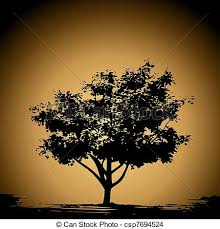 clip vector of vintage tree silhouette tapestry vector