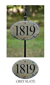 carved house numbers address sign with 36 lawn stake