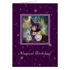 happy birthday witch purple magic card zazzle com