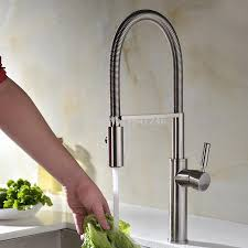 high arch touch on pull out pull down sprayer spring kitchen sink