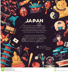 flat design japan travel postcard with landmarks famous japanese
