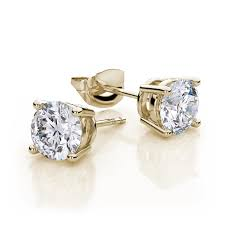 white topaz earrings white topaz stud earrings in 14k yellow gold aaa ebay