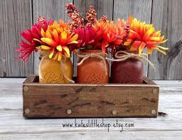 fall rustic planter box with 3 painted mason jars fall decor
