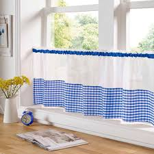 Gingham Kitchen by Gingham Check Blue White Kitchen Curtains Drapes W46 X L54