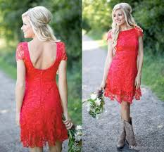 western country style red full lace short bridesmaid dresses 2017