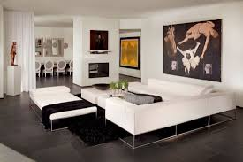 White Leather Sofa Bed Modern Design Dark Brown Low Wood Table Modern Minimalist
