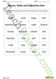 nouns verbs and adjectives sorting task teaching resource