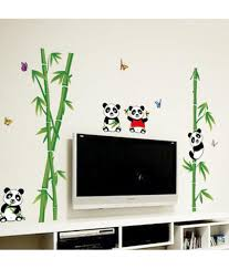 stickerskart green nursery school kids baby room cute little stickerskart green nursery school kids baby room cute little animals panda on bamboo trees wall sticker