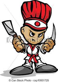 grillk che hibachi grill chef mascot with determined and cooking