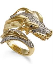 dragon engagement rings images Macy 39 s diamond dragon bypass ring 1 ct t w in 14k gold plated tif
