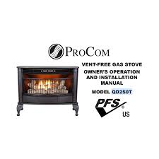 ventless gas stove model qd250t procom heating
