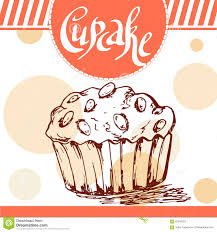 Beautiful Decoration Element Vector Poster With Hand Drawn Cupcake Delicious Food Decorative