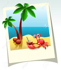 cartoon cocktail cartoon summer shot of sea beach palm trees and crab with