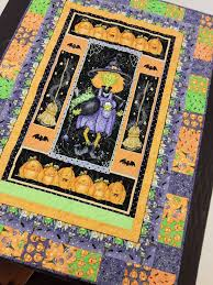 halloween quilt kit wall art of witches brooms bats spiders
