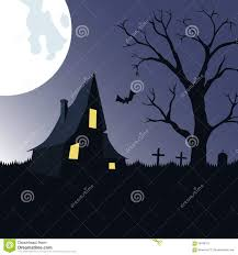halloween background with haunted house tree and cemetery stock