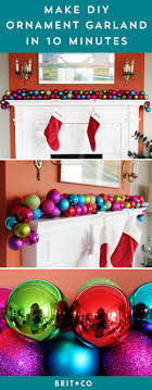 make a diy ornament garland in 10 minutes or less brit co