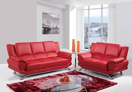 Madrid Leather Sofa by Contemporary Full Leather Red Sofa Set 44l2540 Red Cabot Red