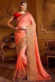 buy peach color enlivening crepe saree online 10818001810