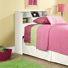 white bookcase bed sauder shoal creek soft white twin headboard 411905 the home depot