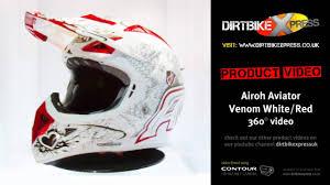 airoh motocross helmets airoh aviator venom white red helmet youtube
