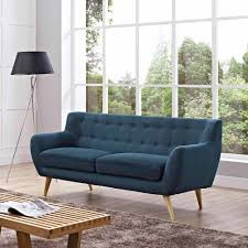 Navy Tufted Sofa by Modway Remark Modern Upholstered Sofa Multiple Colors Walmart Com