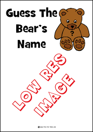printable sheets for u0027guess the bear u0027s name u0027 competitions